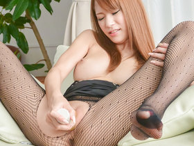 Raw fishnet solo masturbation along superb Nami Itoshino